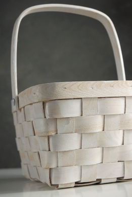White Baskets with Handle 8""