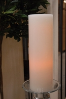 White Battery Operated Real Wax 4x12 Pillar Candles