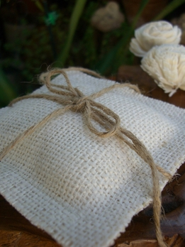 White Burlap Ring Bearer Pillow