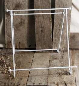 White Enameled Metal Easel 12x12