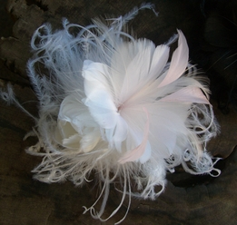White and Pink Millinery Feather Flower