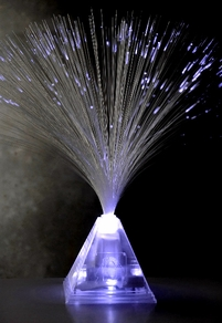 White LED Pyramid Fiber Optic Centerpiece