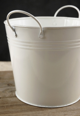 White Metal Bucket 6.45 x 5.5""