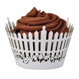 White Picket Fence Cupcake Wrappers Package of 12