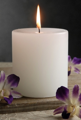 White Pillar Candles 4x4 Unscented Cotton Wicks