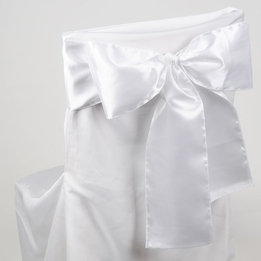 White Satin Chair Sashes (Pack of 10)