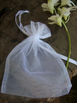 "White Sheer Organza Favor Bags 5"" X 6.5"" (Pack of 12)"