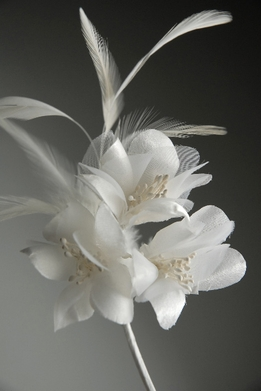White Silk Feather Flowers on Wire Stem