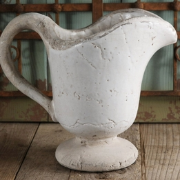 White Stoneware Pitcher Vase 10in