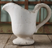 White Stoneware Pitcher Vase 7in