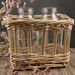 Glass Milk Bottle Duo in Willow Basket