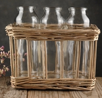 Glass Milk Bottle Trio in Willow Basket