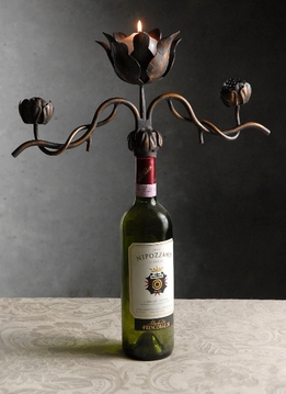 Wine Bottle Candelabra Handcrafted