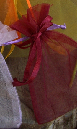 "Wine Burgundy Organza 3"" x 4"" Sheer Favor Bags (12 bags/pkg)"