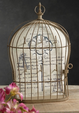 "Wire 12"" Bird Cage Key Holder with 6 Hooks"