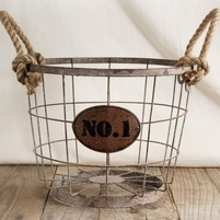 "Wire Baskets 11"" No. 1 & Rope Handles"
