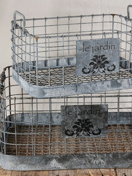 Wire Baskets Le Jardin 15x11 & 20x14 (set of two)
