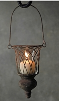 Hanging Wire Candleholder with Wood Finial 13in