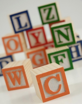 "Wood Alphabet Blocks 1-1/4"" 15 pieces"