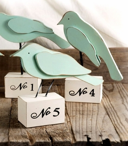 Wood Birds on Numbered (1-5) Stands (5 birds)