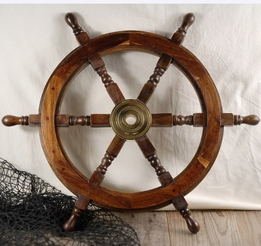 "Wood & Brass 24"" Ships Wheel"