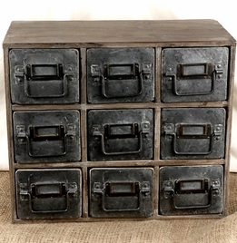 Miniature Wood and Metal Cabinet