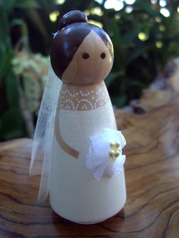 Wood Cake Toppers : Elegant Bride Tulle Veil Brown Hair