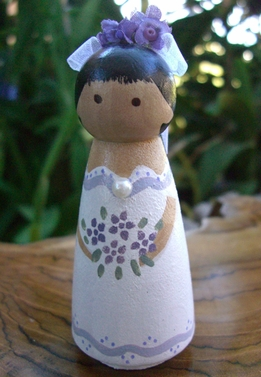 Wood Cake Toppers : Lavender Bride Black Hair