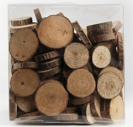 "Wood Circle Slices 1"" with Bark (11 ounce box)"