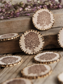 "Wood Circles 1.5"" Family Tree Stamp Burned Edges (12 pieces)"