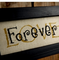 "Wood Framed Embroidered 11x5 ""Love Forever"""