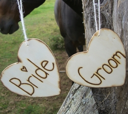 "Wood Heart Chair Signs Bride & Groom 4-1/2"" Set of Two"