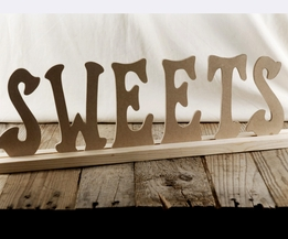 "Wood Letters and Stand ""SWEETS"" (21"" long)"