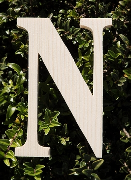 "Wood Letters Greek Nu 3/4"" thick 6"" tall"