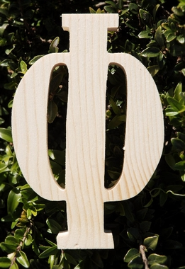 "Wood Letters Greek Phi Pine 3/4"" thick 6"" tall"