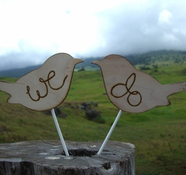 "Wood Love Bird Cake Topper ""We Do"" 6"" x 6"""