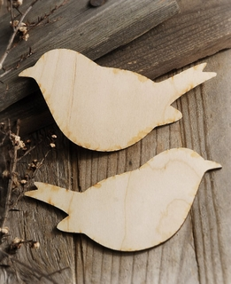 Wood Love Birds Set of Two 6in