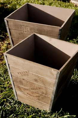 "Wood Planter Boxes Privet House Cornwall Rd. (2 boxes 14"" & 13"")"
