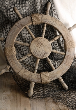 "Wood Ship's 25"" Nautical Steering Wheel"