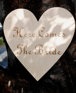 "Wood Signs 12"" Here Comes the Bride Birch Wood Sign"