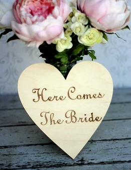 Wood Signs Heart 'Here Comes the Bride'  8 inch Wood  Sign