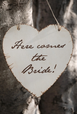 Here Comes the Bride Birch Wood Sign
