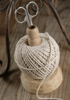 Wood Spindle with Ball of Cotton Cording & Scissors