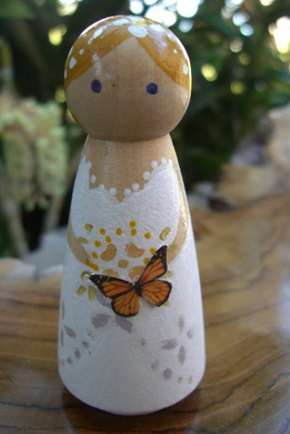 Wood Wedding Cake Topper: Butterfly Bride with Blonde Hair
