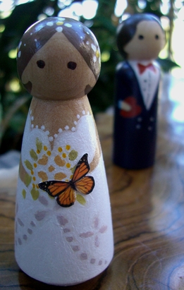 Wood Wedding Cake Topper: Butterfly Bride with Light Brown Hair