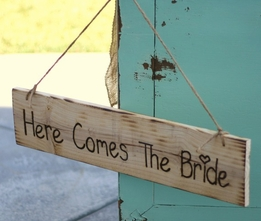 """Here Come the Bride"" Hanging Wood Sign 24in"