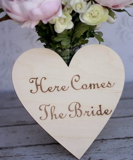 Wood Wedding Signs Here Comes the Bride Wood Sign 4in
