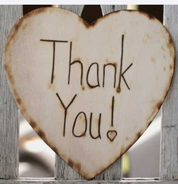 "Wood Wood Heart Thank You Sign 8.75"" x 8.5"" Size Photo Prop"