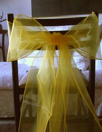 Yellow Organza Chair Bows (Pack of 10)