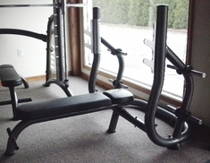 Flat Olympic Bench Press with Weight Storage (used)